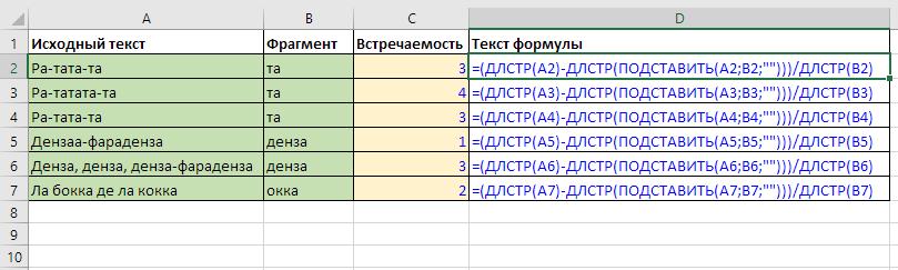 пример - функция ДЛСТР для подсчета встречаемости текстового фрагмента
